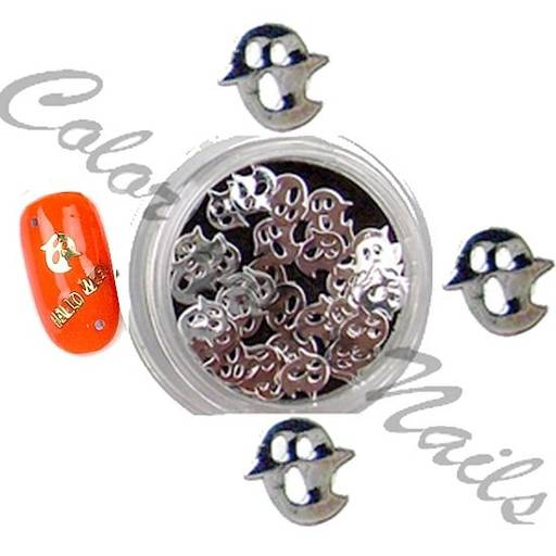 25 silberfarbene Metall-Einleger HALLOWEEN-GESPENST (H3S )4,5mm.Nailarteinleger